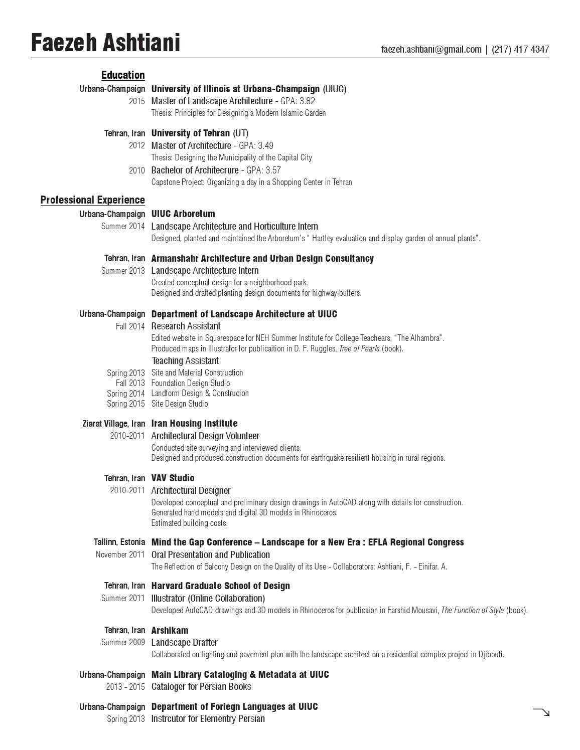 Uiuc Resume Faezeh Ashtiani Resume By Faezeh A Issuu
