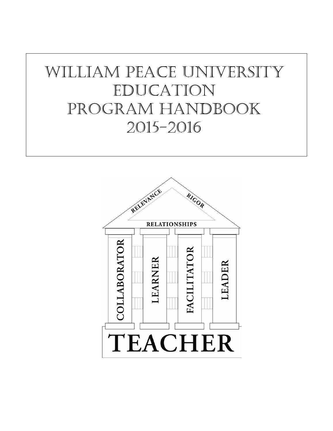 WPU Education Program Handbook 2015-16 by William Peace