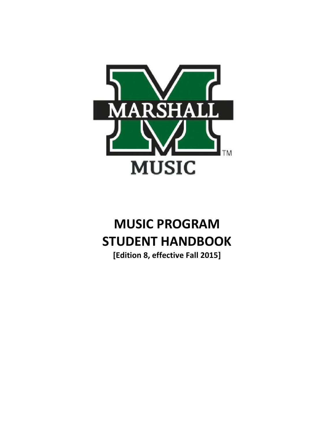Music program handbook fall 2015 by Marshall University