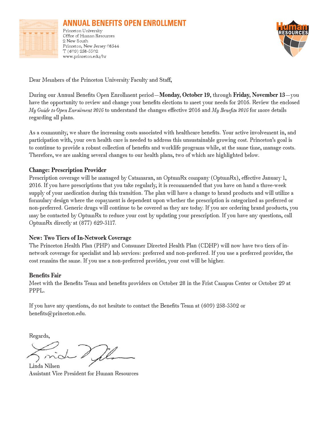 University Cover Letter Open Enrollment Cover Letter For 2016 By Princeton University