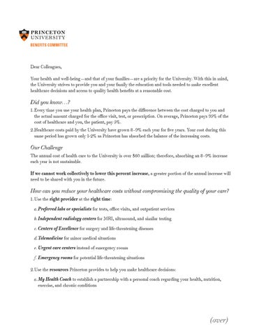 Open Enrollment Benefits Committee Cover Letter for 2016