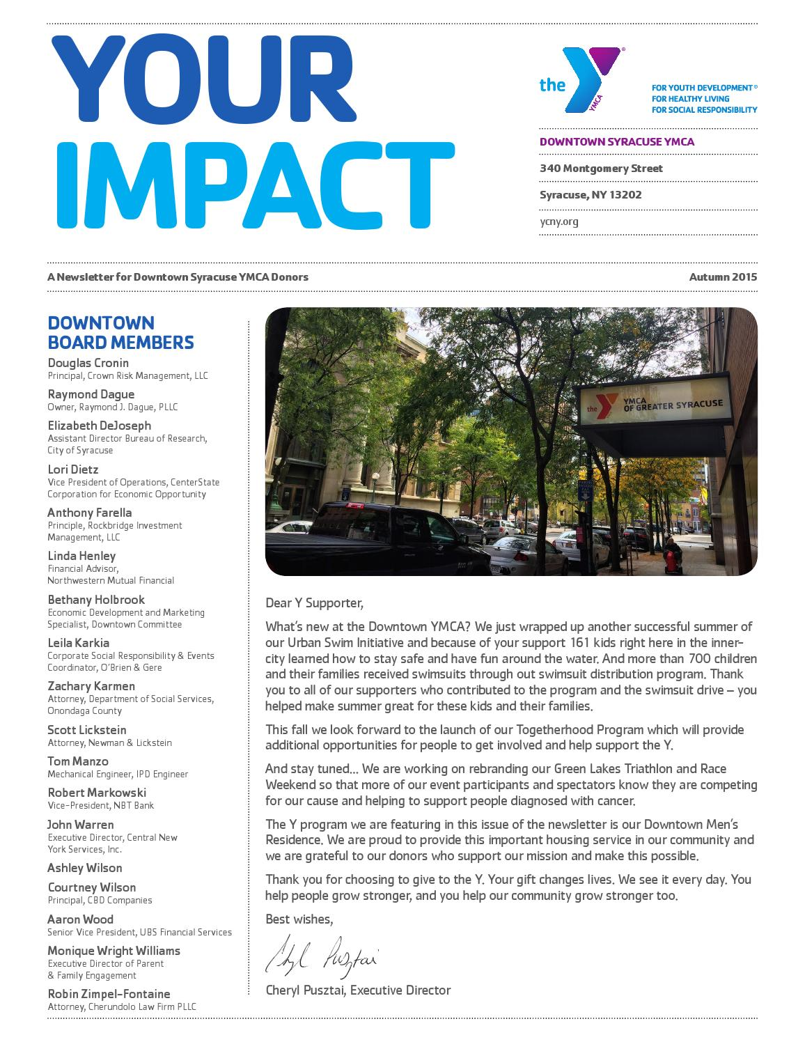 Downtown Syracuse YMCA Autumn Donor Newsletter by YMCA of Greater Syracuse  Issuu