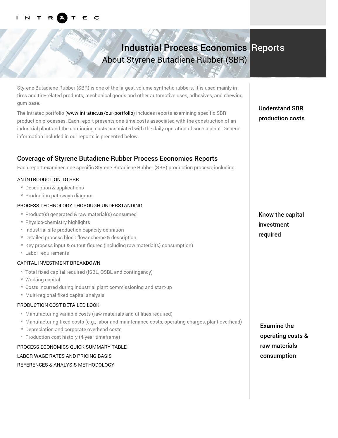 styrene production process flow diagram 2006 subaru impreza headlight wiring feasibility studies sbr manufacturing by intratec