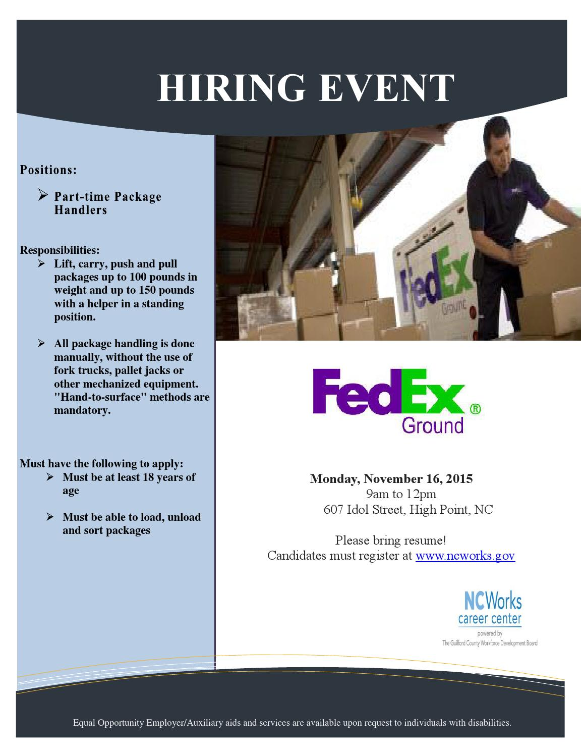 Loading And Unloading Trucks Resume Fedex Hiring Event By Ncworks Career Center Guilford