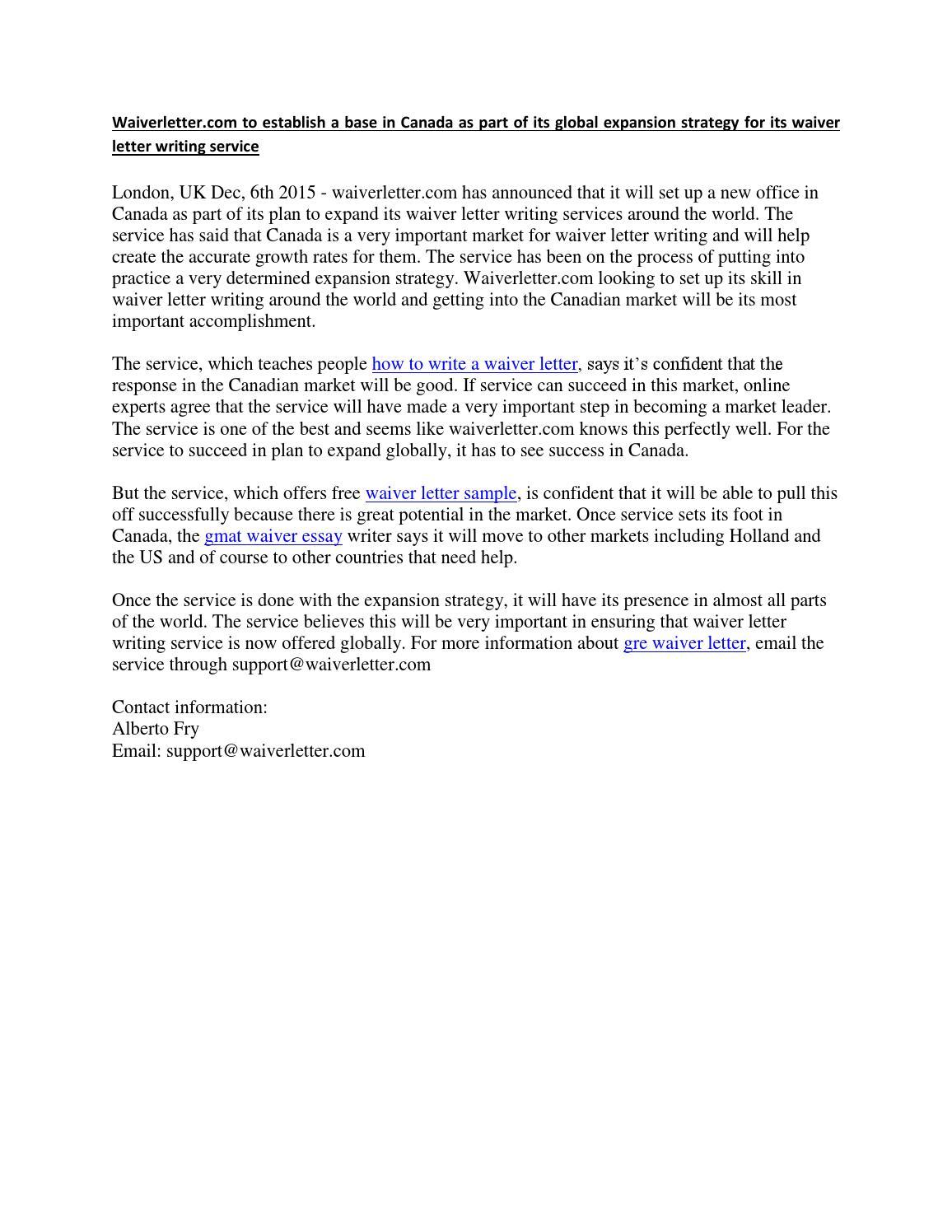 waiverletter com to establish