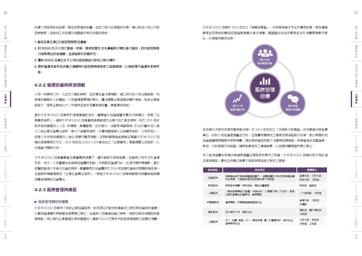 太平洋SOGO百貨2014年企業永續報告書 by CSRone Reporting - Issuu