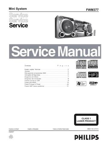 Manual de servico do MINI SYSTEM marca PHILIPS modelo