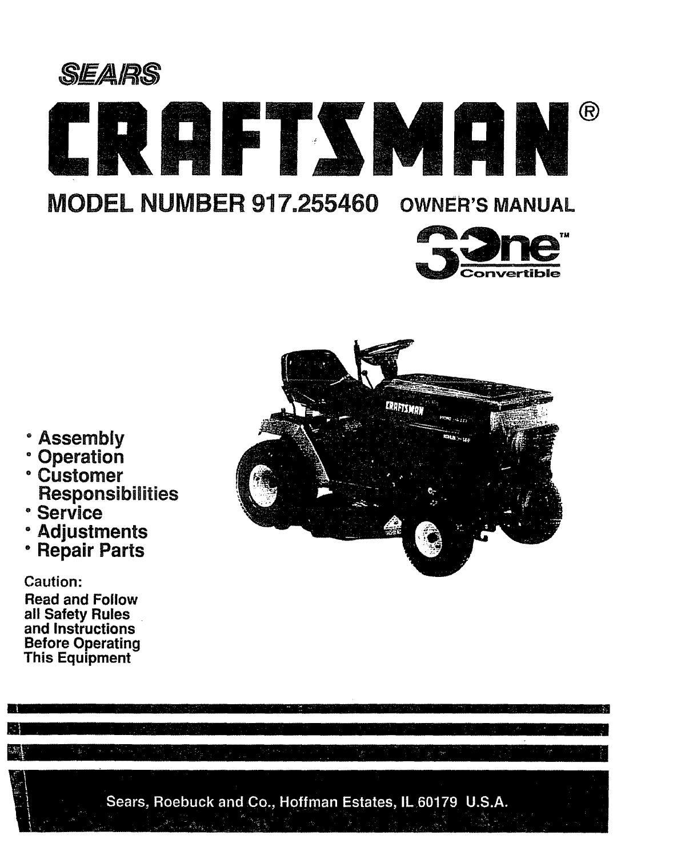 Craftsman Riding Mower Steering Problems : craftsman, riding, mower, steering, problems, SEARS, Craftsman, Mower, Model, 255460, Glsense, Issuu