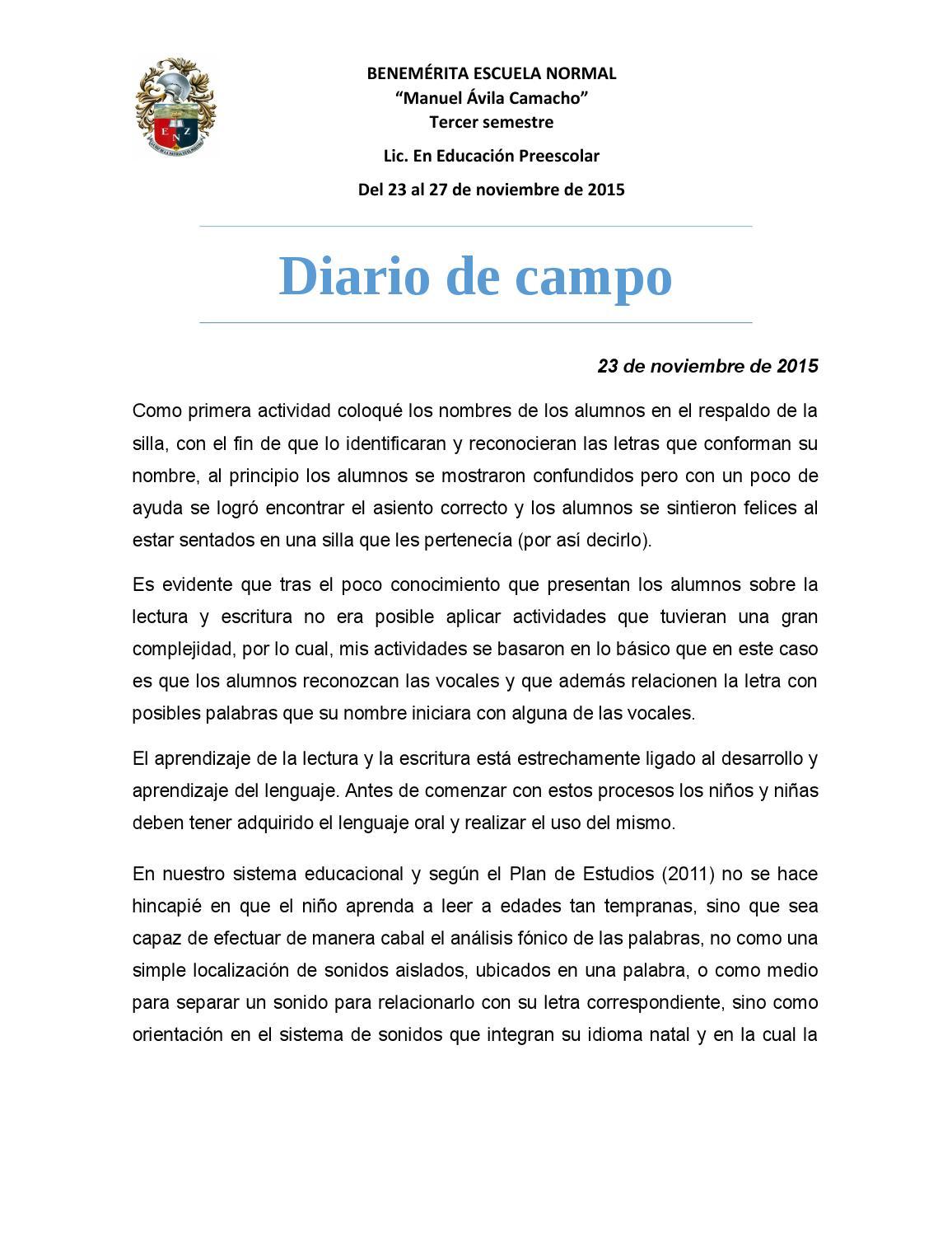 Diario de campo 23 al 27 de noviembre by Karla Garca  Issuu