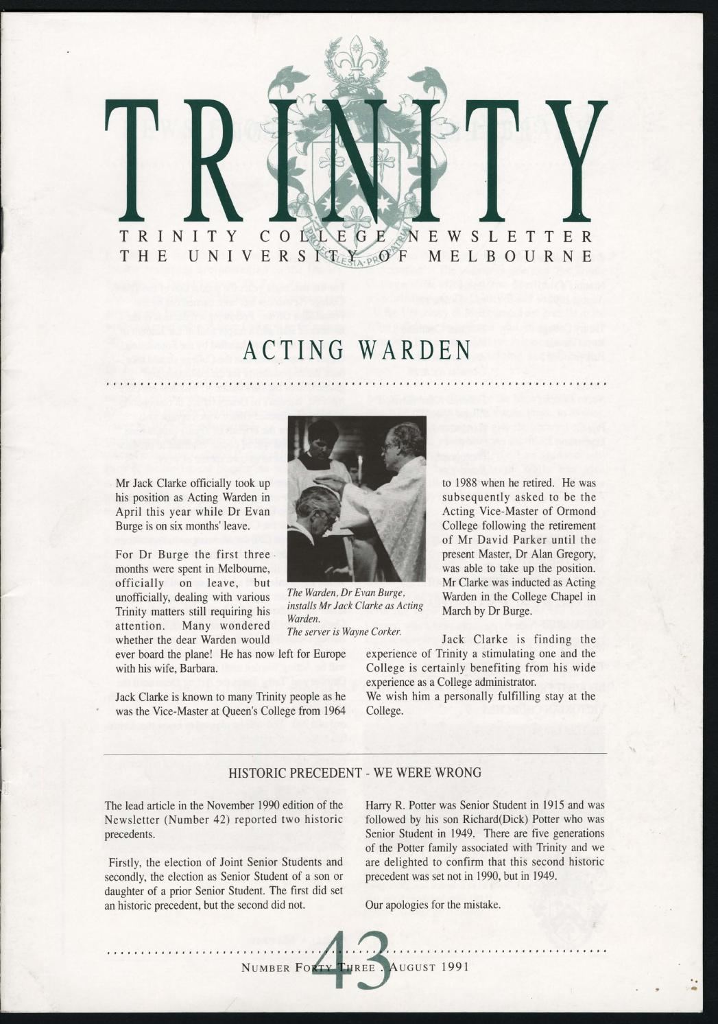 Trinity College Newsletter, vol 1 no 43, August 1991 by