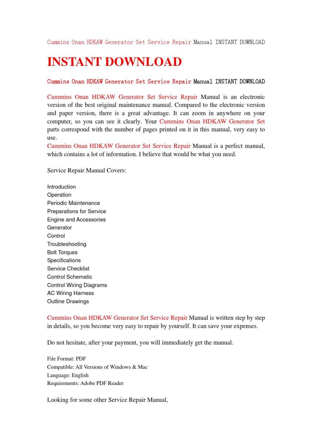 medium resolution of cummins onan hdkaw generator set service repair manual instant download by jhsefjn7 issuu
