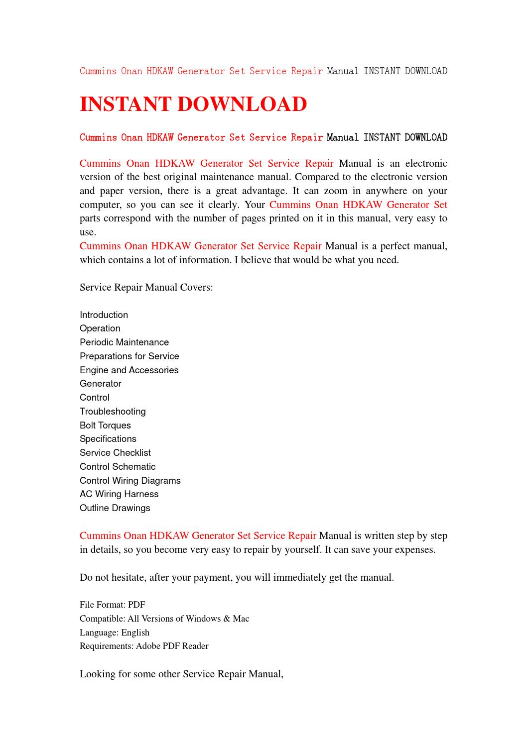 hight resolution of cummins onan hdkaw generator set service repair manual instant download by jhsefjn7 issuu