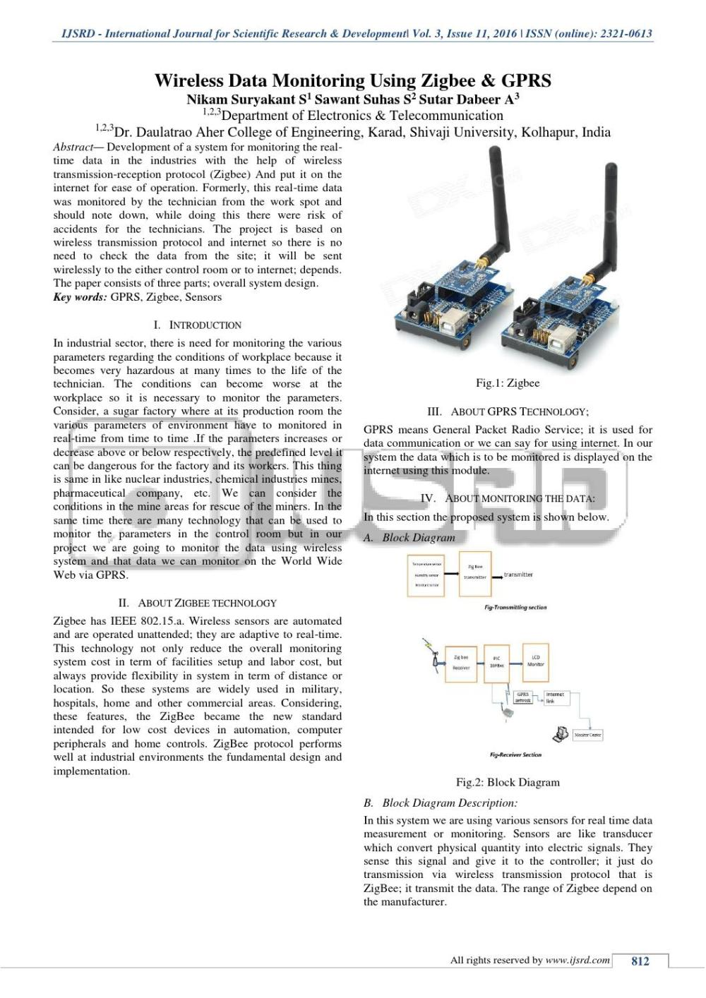 medium resolution of wireless data monitoring using zigbee and gprs by international journal for scientific research and development ijsrd issuu