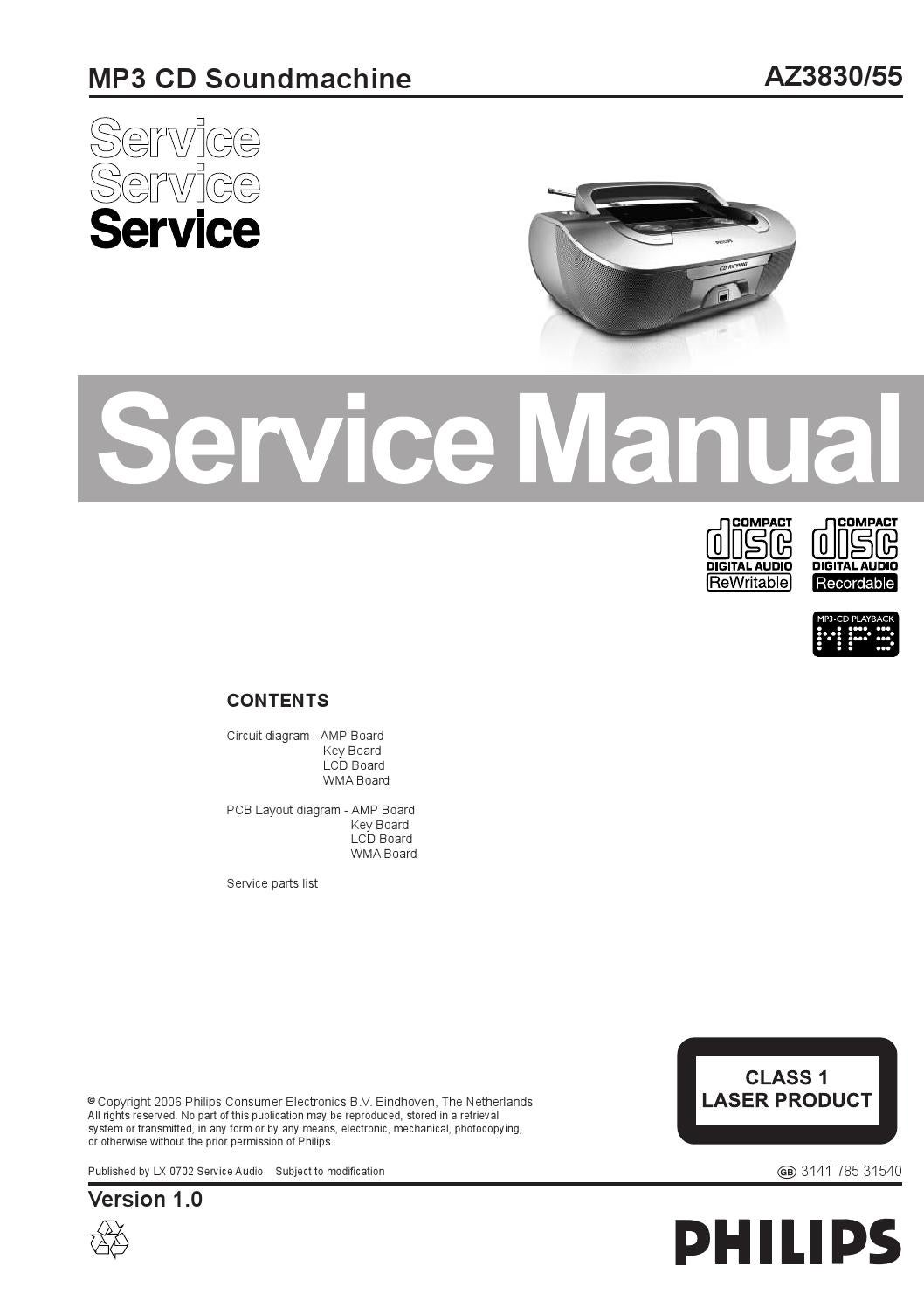 Manual de serviço radio PHILIPS modelo AZ3830-55. by