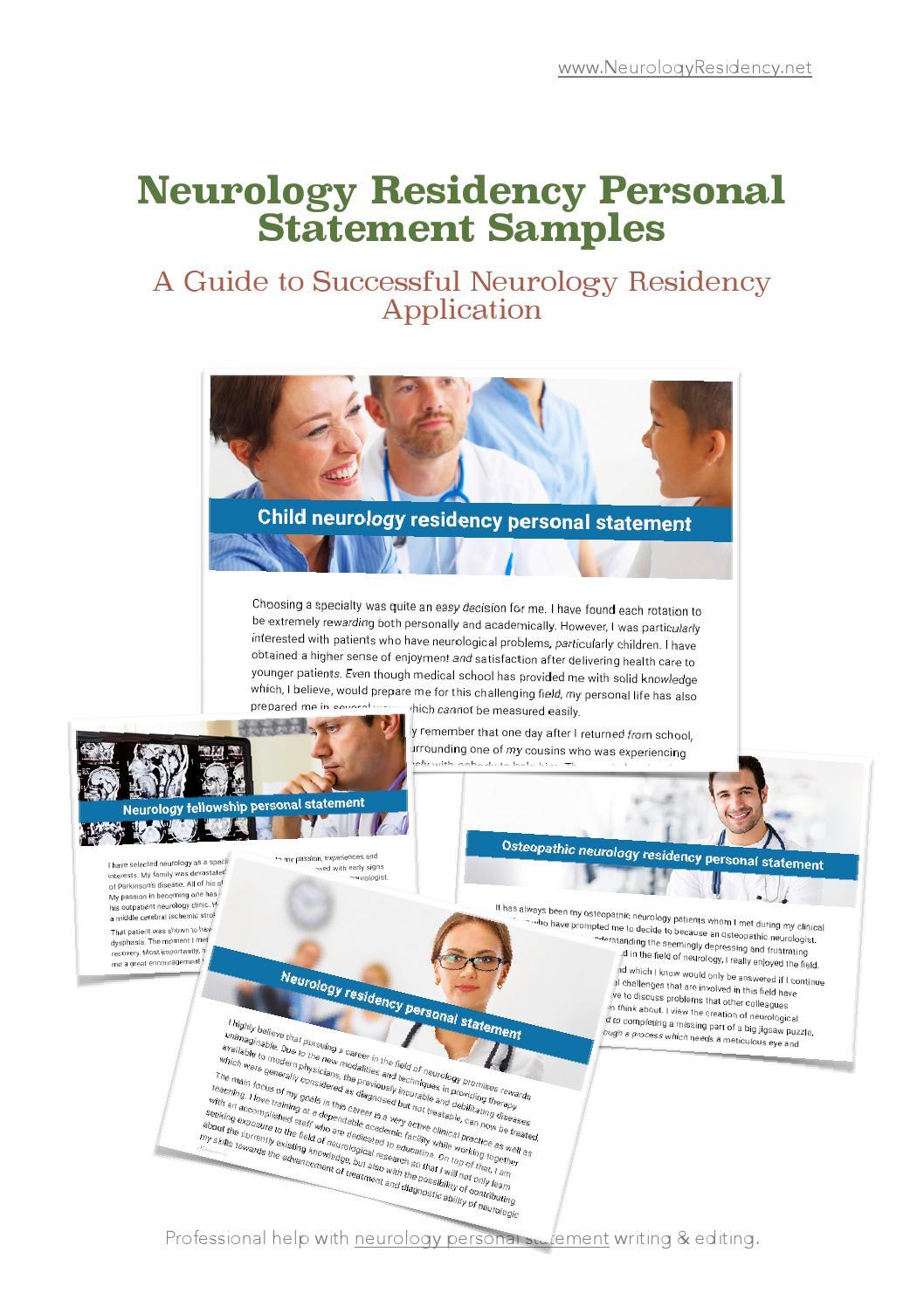 Neurology residency personal statement samples by Nikki rajak - issuu
