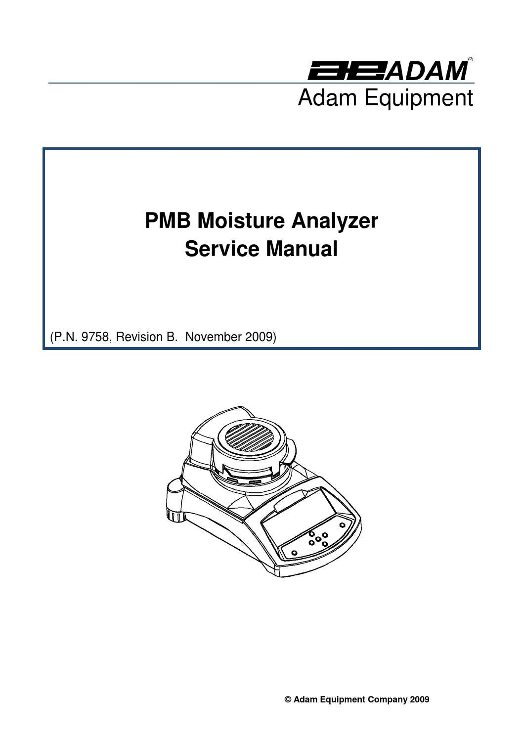 Service manual PMB Moisture Analyzer Adam Equipment by