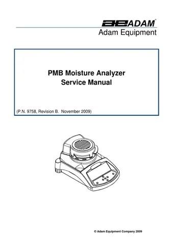 Service manual PMB Moisture Analyzer Adam Equipment by