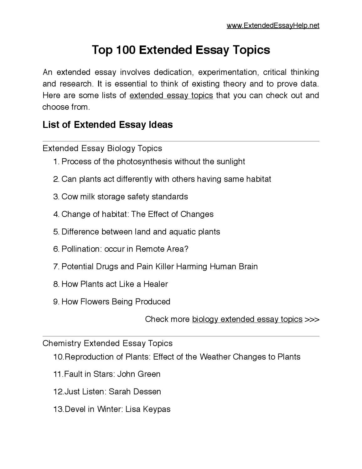 Top 100 Extended Essay Topics By Extended Essay Issuu