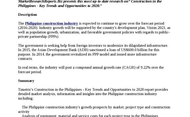 Construction In The Philippines Key Trends And