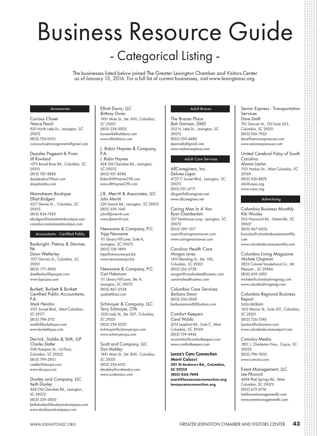 2016 Lexington, SC Community & Business Resource Guide by
