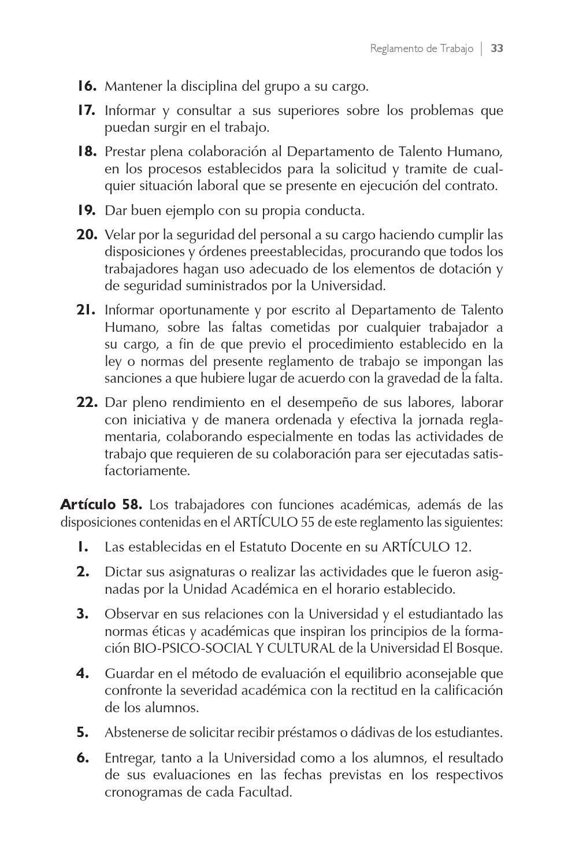 Reglamento de Trabajo by Universidad El Bosque  Issuu