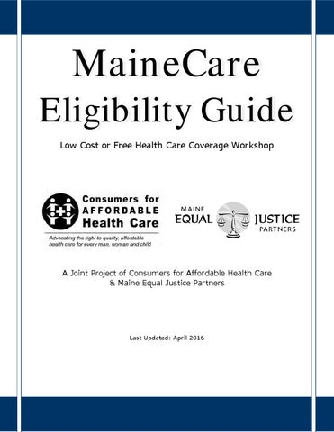 MaineCare Eligibility Guide 2016 by MaineCAHC - Issuu
