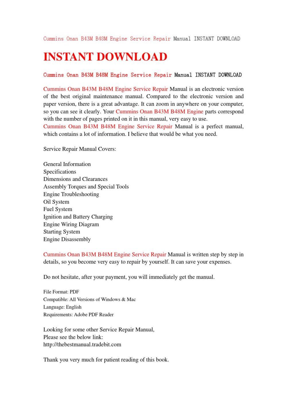 medium resolution of cummins onan b43m b48m engine service repair manual instant download by jhejfnshef issuu