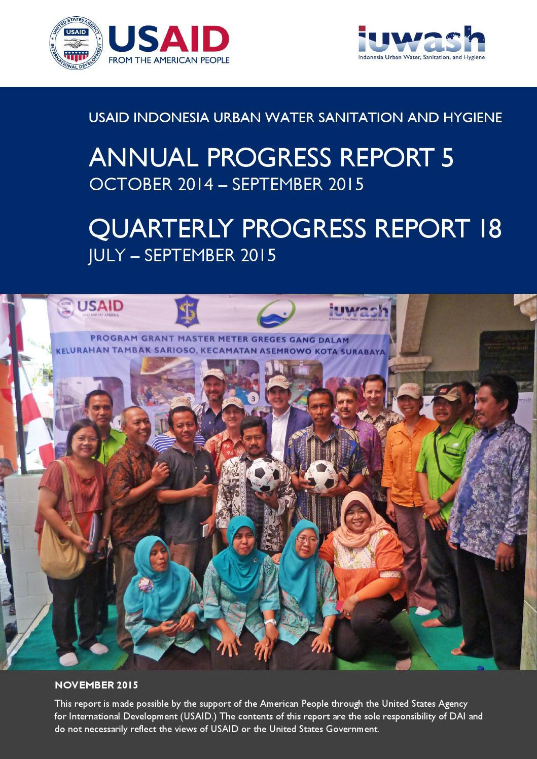 USAID IUWASH Annual Progress Report 5 Oct 2014  Sept