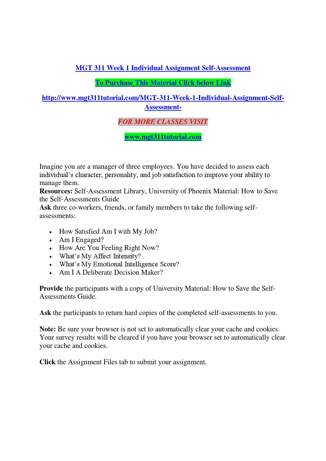 Mgt 311 Week 1 Individual Assignment Self Assessment By Alpanlebayl - Issuu