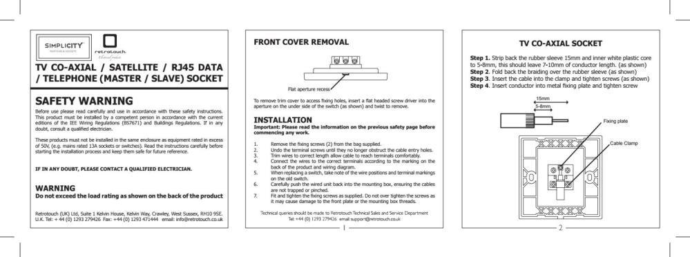 medium resolution of retrotouch simplicity tv sat rj45 bt socket manual a