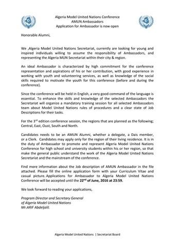 Algeria MUN Ambassador Concept Note 2016 By AMUN Issuu