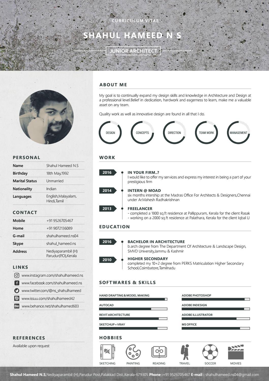 architecture intern resume example