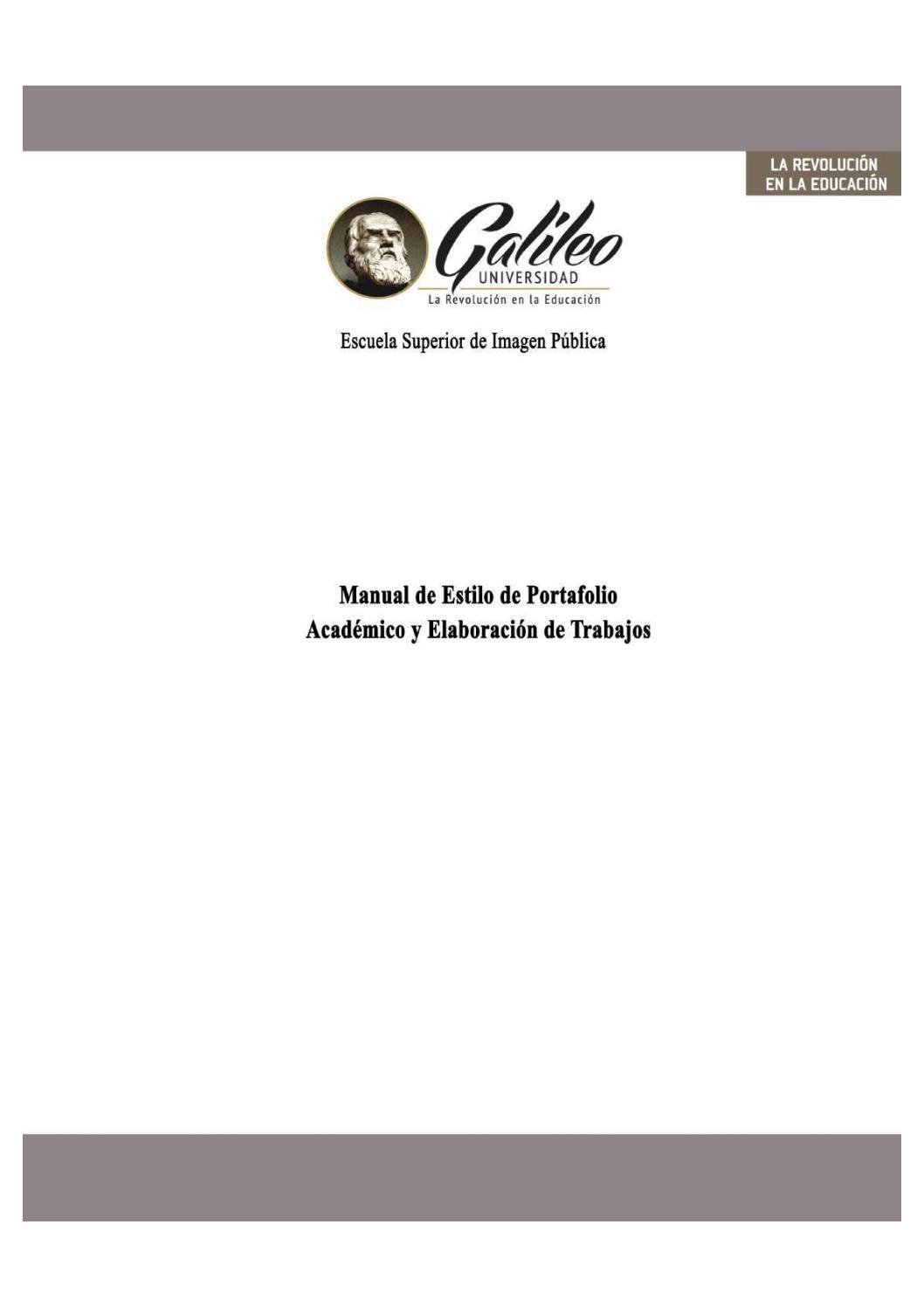 Manual de estilo de portafolio académico de imagen pública