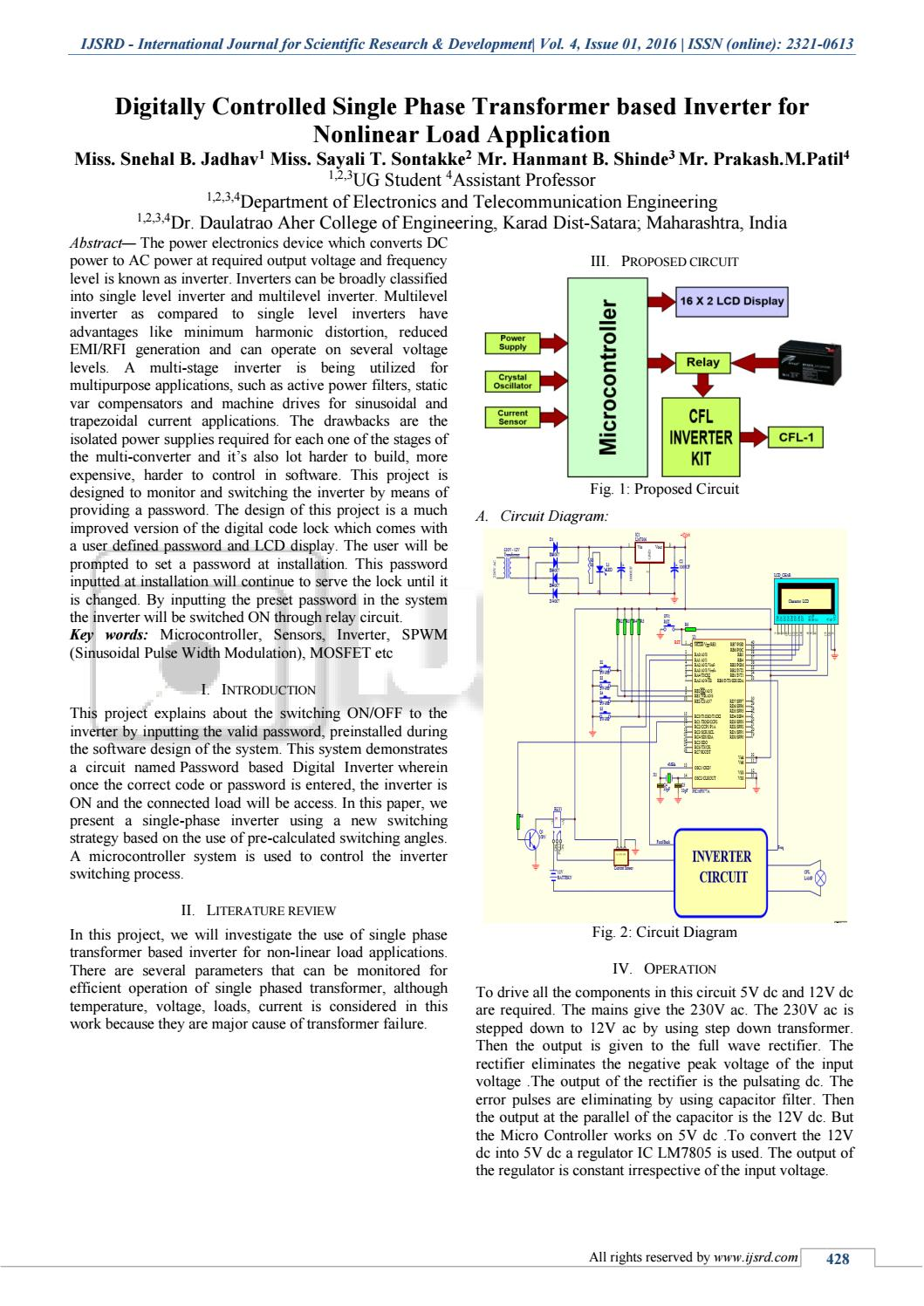 hight resolution of digitally controlled single phase transformer based inverter for nonlinear load application