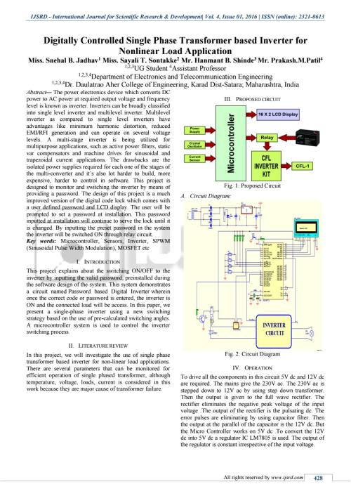 small resolution of digitally controlled single phase transformer based inverter for nonlinear load application