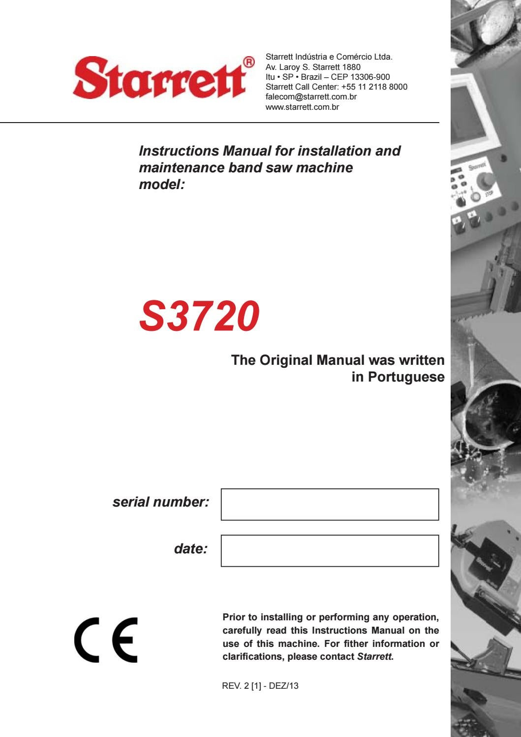 hight resolution of starrett s3720 bandsaw machine manual