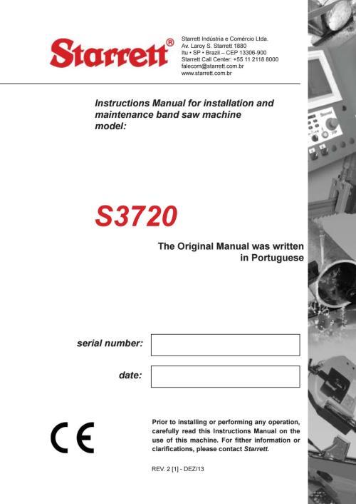 small resolution of starrett s3720 bandsaw machine manual
