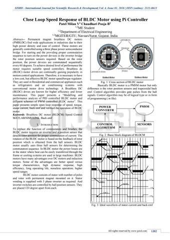 Close Loop Speed Response of BLDC Motor using PI