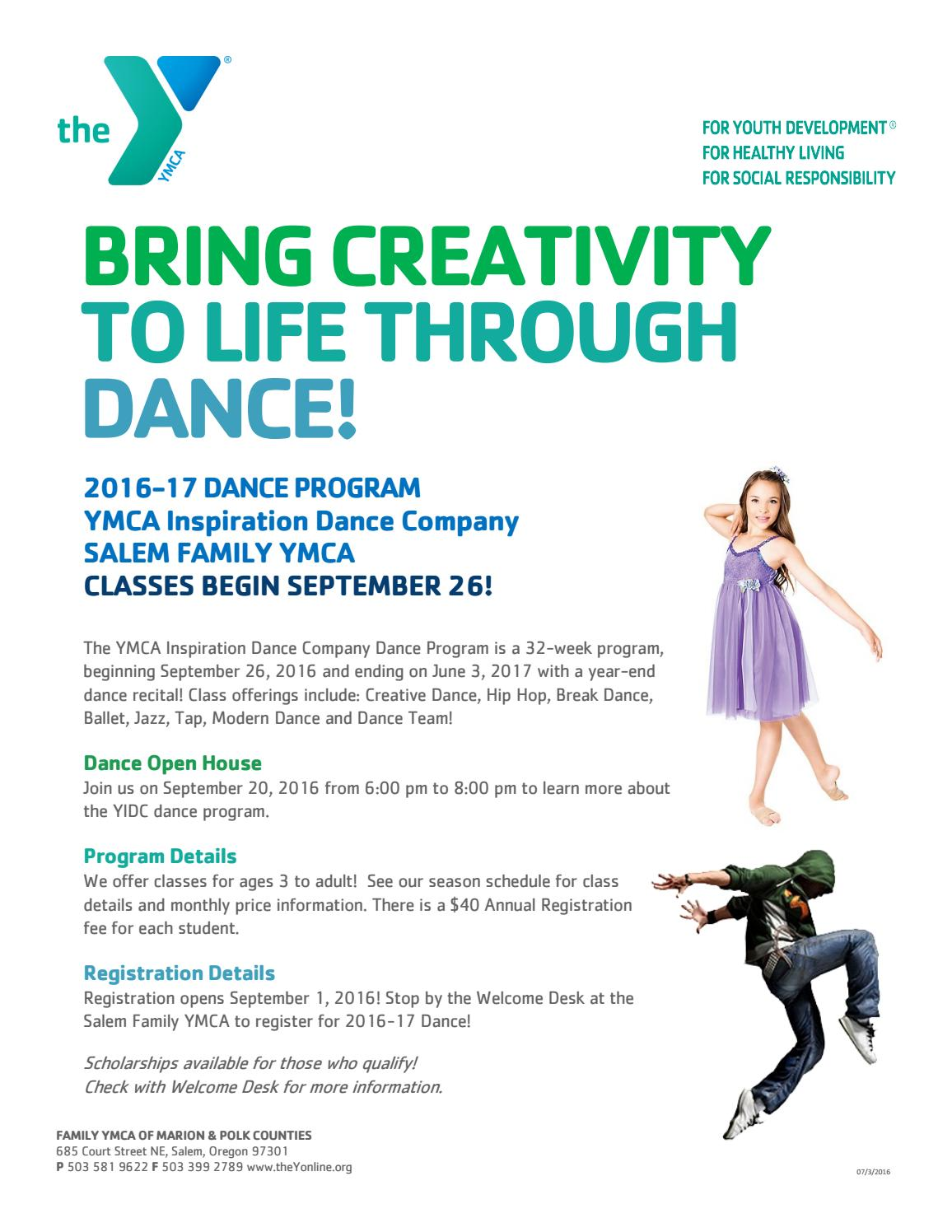2016 17 Salem Family YMCA Dance Brochure By Family YMCA Of