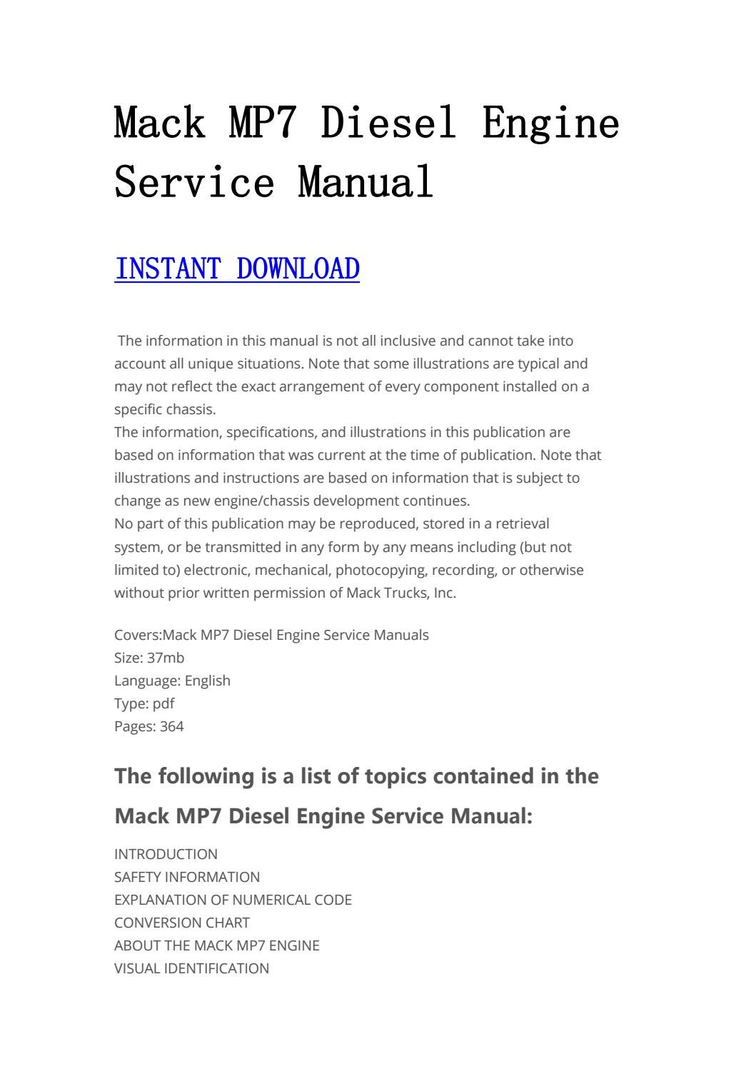 hight resolution of mack diesel engine service manual manualtrucks issuu jpg 1059x1497 mp7 mack truck engines diagram