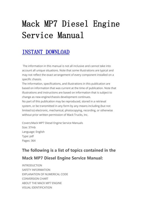 small resolution of mack diesel engine service manual manualtrucks issuu jpg 1059x1497 mp7 mack truck engines diagram