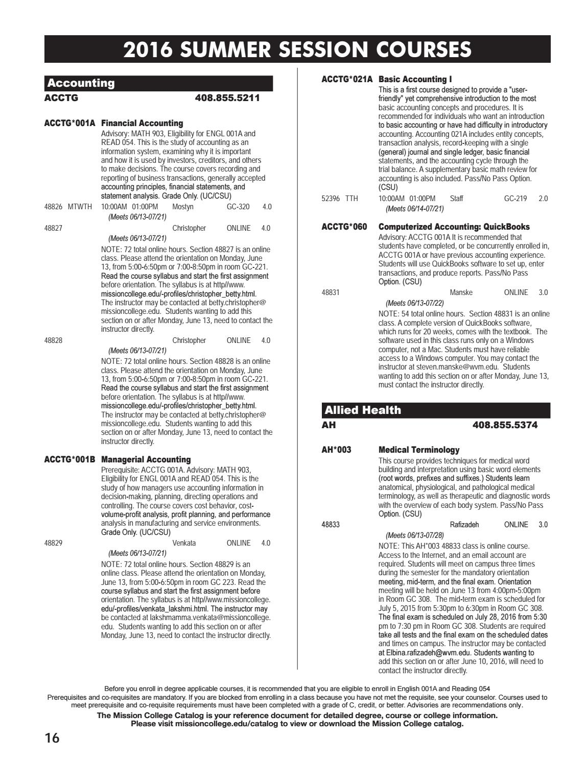 Mission College Summer & Fall 2016 Schedule by Mission