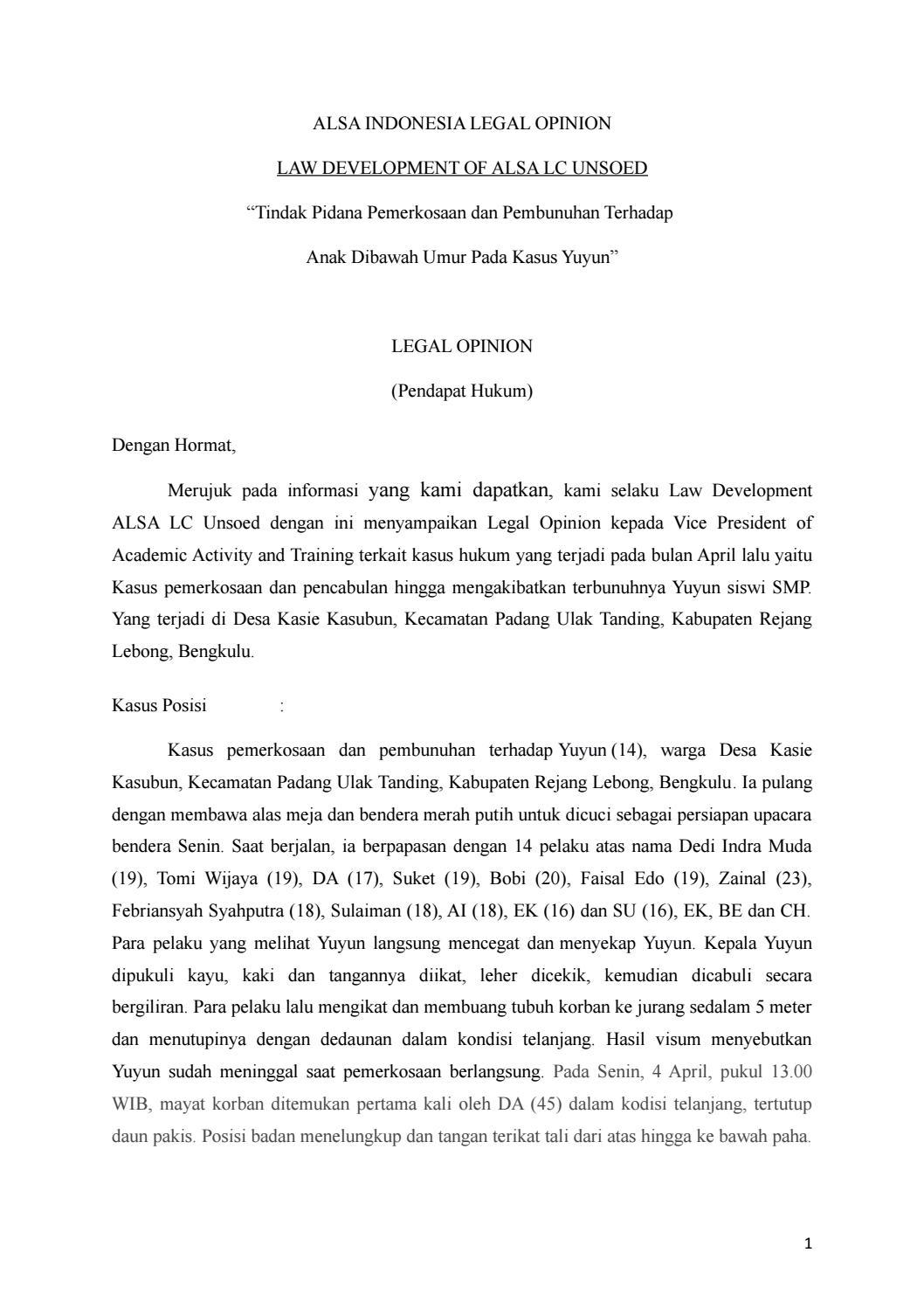 """Contoh Legal Opinion Kasus Pidana : contoh, legal, opinion, kasus, pidana, Tindak, Pidana, Pemerkosaan, Pembunuhan, Terhadap, Dibawah, Kasus, Yuyun"""", Indonesia, Issuu"""