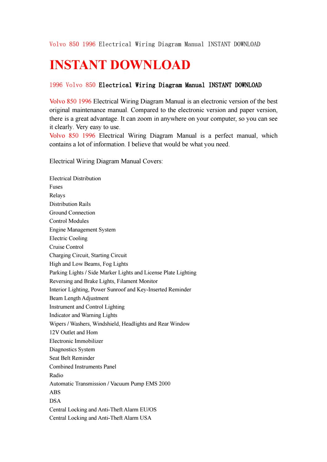 hight resolution of volvo 850 1996 electrical wiring diagram manual instant download by jhsefn7y6d issuu