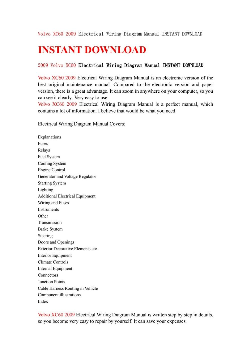 medium resolution of volvo xc60 2009 electrical wiring diagram manual instant download by jhsefn7y6d issuu