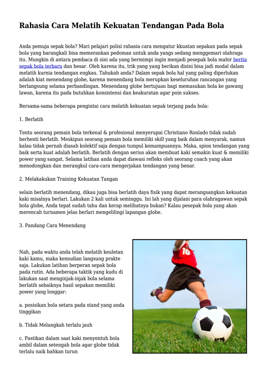 Tendangan Dalam Sepak Bola : tendangan, dalam, sepak, Rahasia, Melatih, Kekuatan, Tendangan, Klikgayahidupnet, Issuu