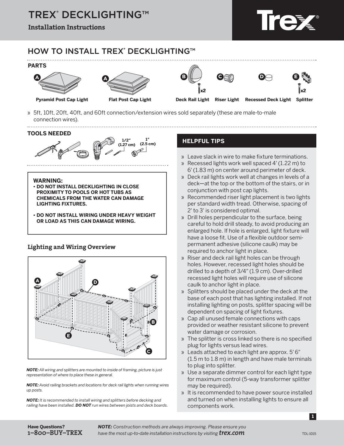 trex deck lighting installation guide