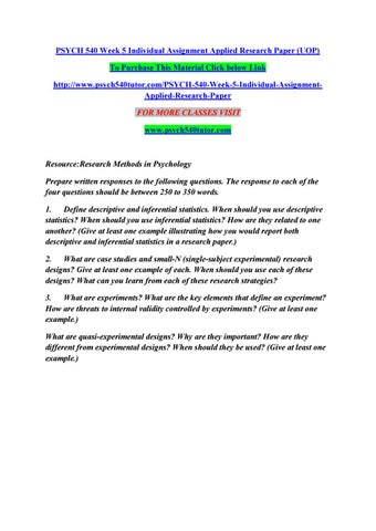 Psych 540 Week 5 Individual Assignment Applied Research Paper Uop