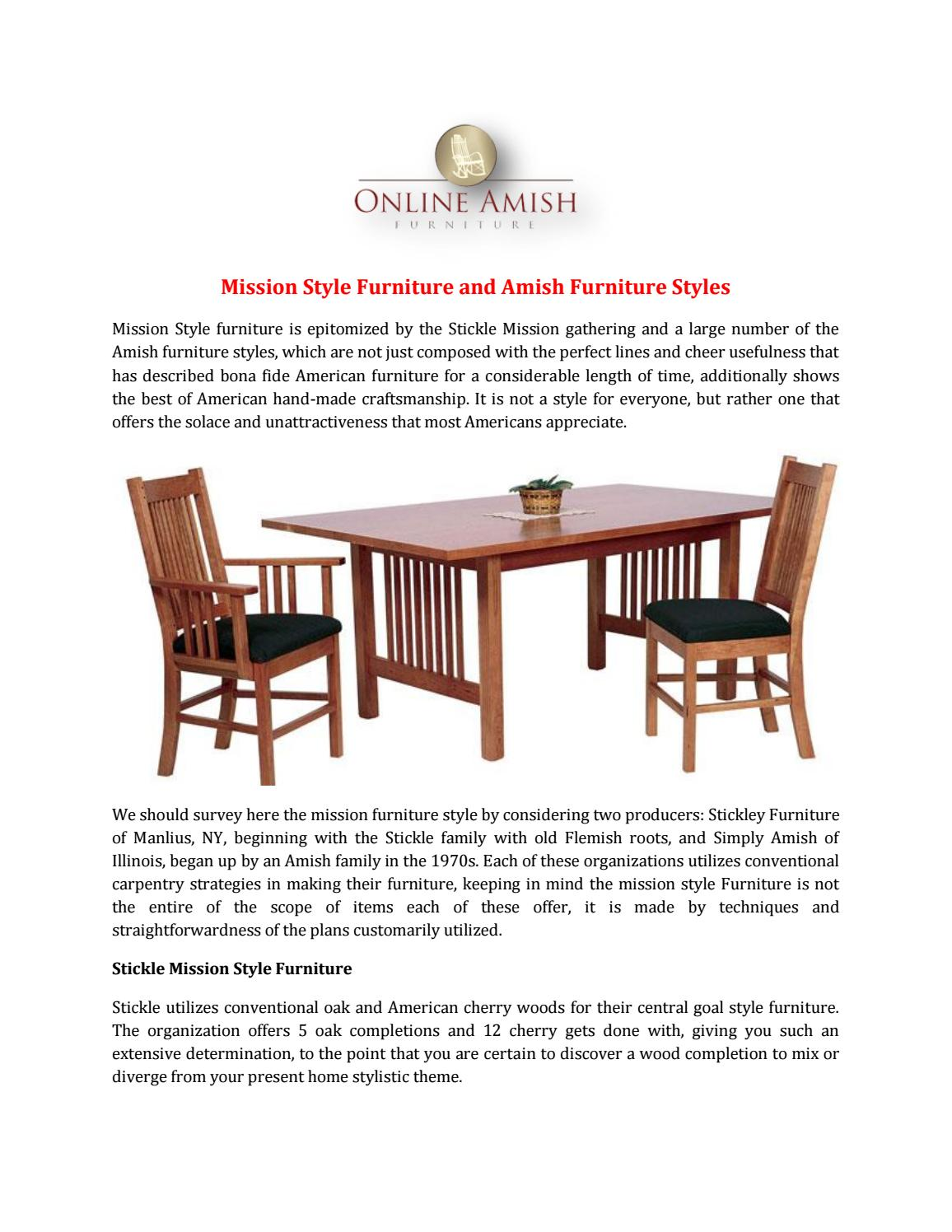 Mission Style Furniture And Amish Furniture Styles By Online