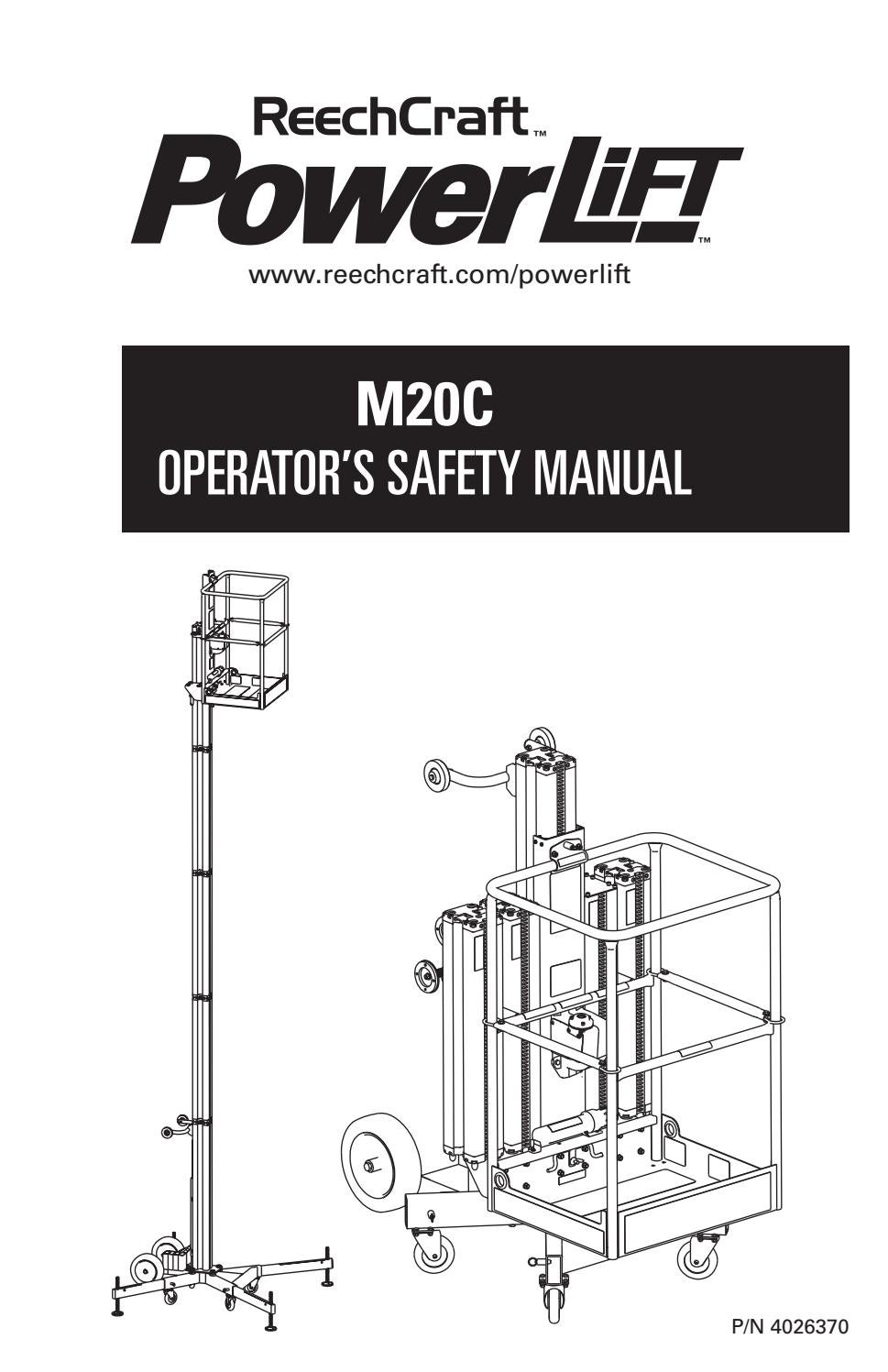 PowerLift M20C Operator's Manual 2015 by ReechCraft Access